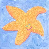 Orange Starfish Wall Art