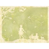 Toile Girl Pulling Wagon Green Wall Art