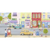 Girls Vintage Street Scene Wall Art