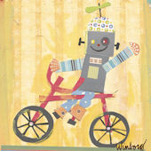 Biking Robot Canvas Wall Art