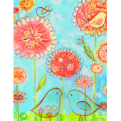 Birds and Poppies Wall Canvas Art