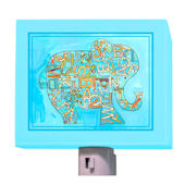 Blue Alphabet Elephant Nightlight