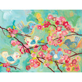 Cherry Blossom Birdies Canvas Wall Art