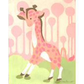 Gigi Giraffe Pink Wall Canvas Art