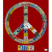 License Plate Peace Red Wall Canvas Art