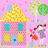 Little Houses Yellow Roof Canvas Wall Art