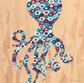 Geo Sea Octopus Canvas Wall Art