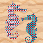 Geo Seahorses Canvas Wall Art