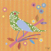 Mod Bird Orange Canvas Wall Art