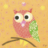 Mod Owl Orange Canvas Wall Art
