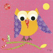 Mod Owl Pink Canvas Wall Art