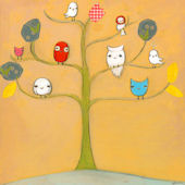 Owl Friends and a Bird with a Hat Canvas Wall Art