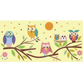 Owls On A Branch Canvas Wall Art