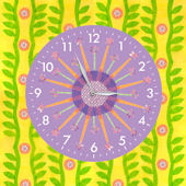 Paper Flowers Single Canvas Art with Clock