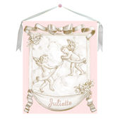 Pink Cherub Canvas Wall Hanging