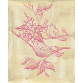 Pink Toile Birdies Wall Canvas Art