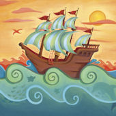 Pirate Ship Wall Canvas Art