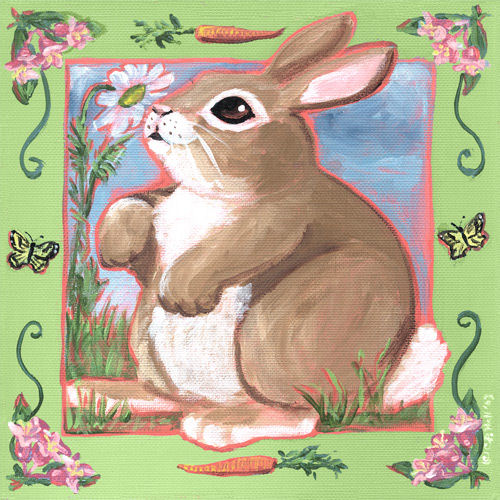 Summer Bunny Canvas Wall Art The Frog And The Princess