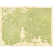 Toile Girl Pulling Wagon Wall Canvas Art
