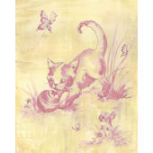 Toile Kitty Pink Wall Canvas Art