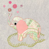 Vintage Elephant  Pink Canvas Wall Art