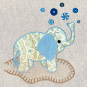 Vintage Elephant  Blue Canvas Wall Art