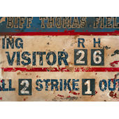 Vintage Scoreboard Baseball Blue Wall Canvas Art