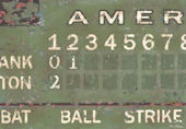 Vintage Scoreboard Baseball Green Wall Canvas Art