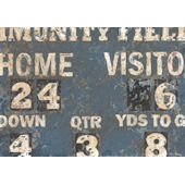 Vintage Scoreboard Baseaball Cream and Navy Art