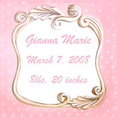 Vintage Scroll Birth Announcement  Pink Wall Art