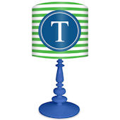 Oopsy Daisy Striped Monogram Green and BlueLamp