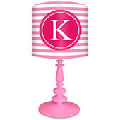 Oopsy Daisy Striped Monogram Pink & Raspberry Lamp