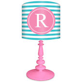 Oopsy Daisy Striped Monogram Turquoise & Pink Lamp