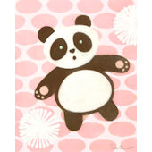 Tai Chan Panda Pink Wall Canvas Art