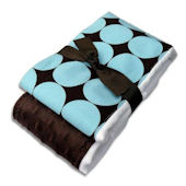 Blue and Chocolate Disco Dot Burp Cloth Set