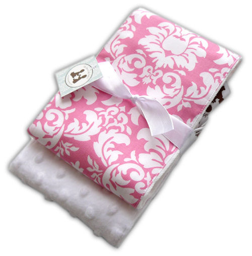 Candy Damask Burp Cloth Set