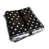 Chocolate and Aqua Dot Washcloth Set of 2