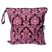 Wet Bag in Chocolate and Pink Dandy Damask