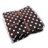 Chocolate and Pink Dots Washcloth Set of 2