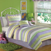 Annas Ruffle Purple Quilt Set