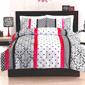 Black And Pink Dot Stripe Quilt Set
