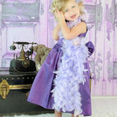 Edina Lavander Blush Couture Feather Party Dress