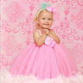 Cotton Candy Couture Feather Tutu Dress