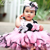 Little Diva Paris Roses Black And Pink Tutu Dress