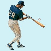 Baseball Batter Peel and Stick Wall Mural 4 Colors