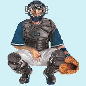 Baseball Catcher Peel and Stick Mural 4 Colors