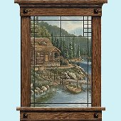Scenic Cabin Window Peel and Stick Wall Mural