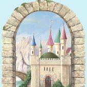 Mountainview Castle Window Peel and Stick Mural