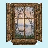 Fishermans Dream Log Cabin Peel and Stick Mural