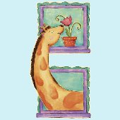 Giraffe Window Peel and Stick Wall Mural